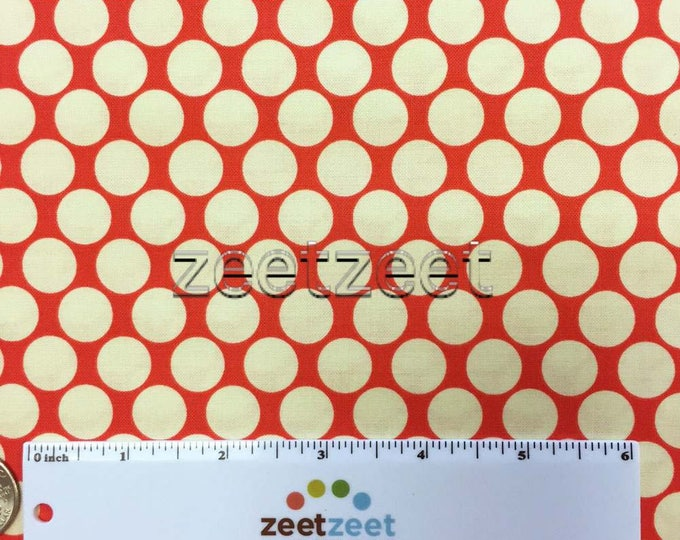 FULL MOON Polka Dot Cherry RED Ivory Amy Butler Quilt Fabric - by the Yard, Half Yard, or Fat Quarter Fq Lotus Collection