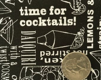 COCKTAIL TALK Black Cream Alcohol Drink Typography Quilt Fabric - by the Yard, Half Yard, or Fat Quarter Fq from Happy Hour by Ink & Arrow