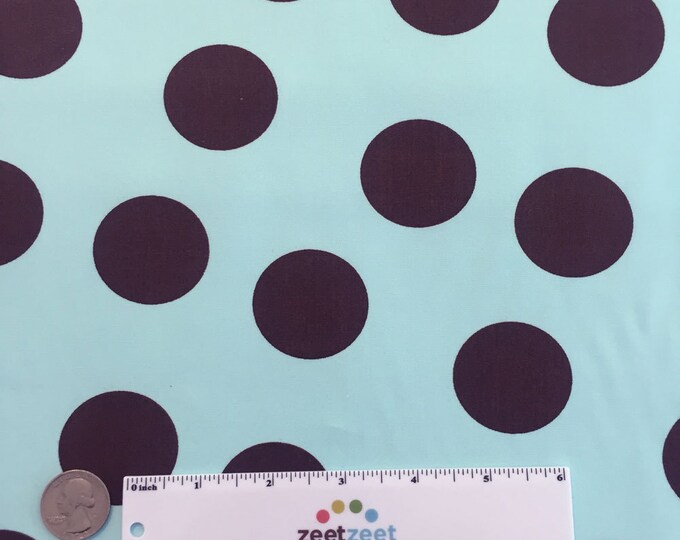 SALE Aqua Brown LARGE POLKA Dot #60 Robert Kaufman Pimatex Cotton Quilt Dress Fabric by the Yard