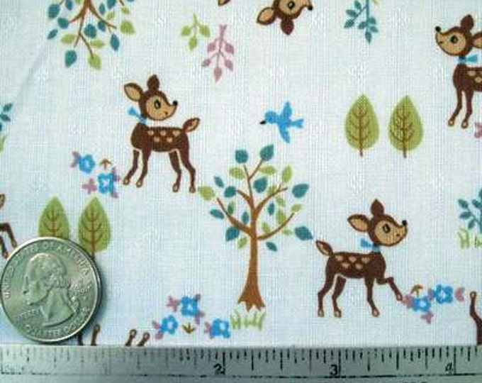 TINY DEER Light Blue Japanese Import Cotton Quilt Fabric by the Yard, Half Yard, or Fat Quarter Fq Nursery Baby Sweet Dobby Weave