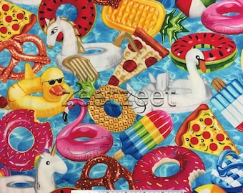 POOL FLOATS Summer Fun Cotton Fabric by the Yard, Half Yd, or Fat Quarter Blue Water Swimming Party Beach Ball Toys