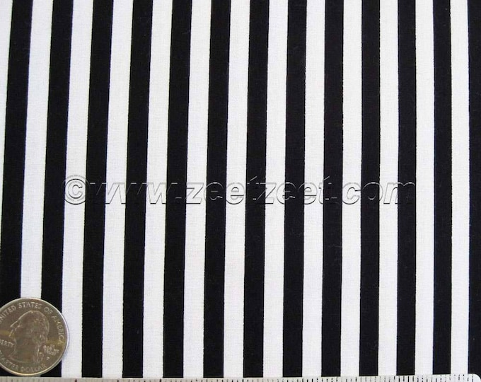 "Michael Miller CLOWN STRIPE Black & White - 1/4"" Wide Stripe Cotton Quilt Fabric - 34"" Remnant or Fat Quarter Fq Halloween"