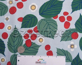 Sale LIZZY HOUSE RASPBERRY Bramble Light Blue Red Green Leaves Flowers Berries Fabric - 1.5 Yards or Fat Quarter Fq Strawberry