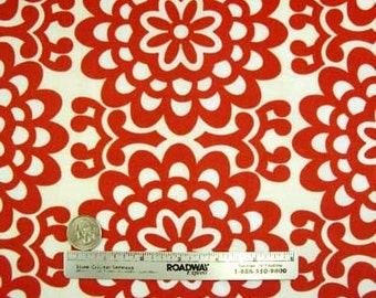 Amy Butler LOTUS WALL FLOWER Cherry Red Cream Quilt Quilt Fabric - One Yard - Rare and out of Print