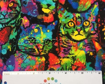 Flannel STAINED GLASS CATS Multi Cat Soft Cotton Quilt Fabric by the Yard, Half Yard or Fat Quarter Fq Kittens Kitty Paint Splatter Painted