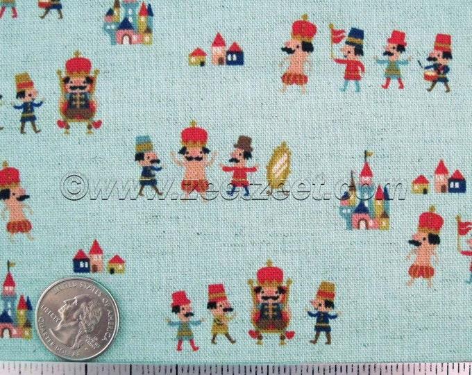 Kokka EMPEROR Has NO CLOTHES, Blue, Cotton Linen Japanese Fabric - Home Dec Weight