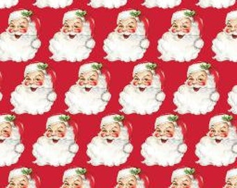 """22.5"""" Remnant SAINT NICK Christmas Kitsch Red 100% Cotton Quilt Fabric - by Anna Griffin"""