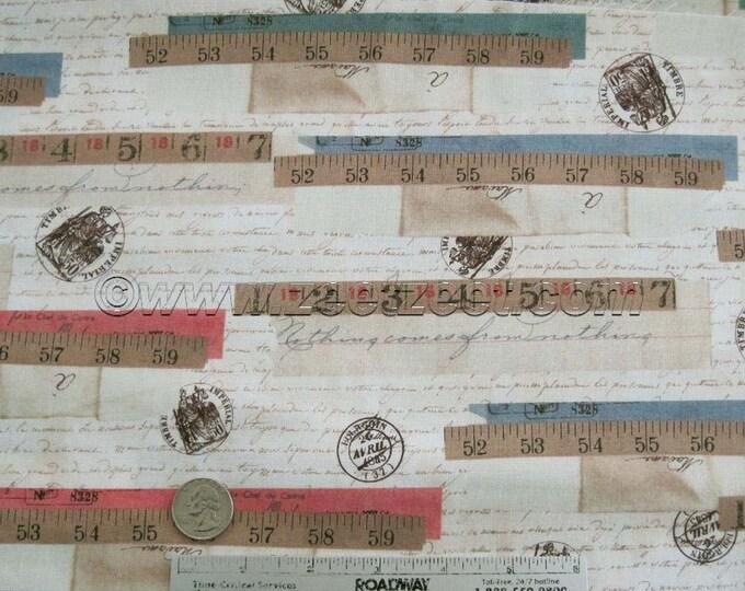 1 Yard - RULER COLLAGE Antique Script Quilt Fabric - Tracie Huskamp Mixed Media Collage Garden Tales - Windham Fabrics - Last Piece