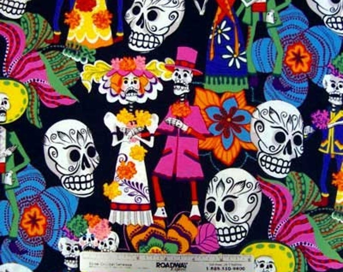 1.9 Yards LOS NOVIOS BLACK Sugar Skulls Quilt Fabric by Alexander Henry Day of the Dead Dios de los Muertos