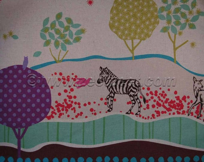 ZEBRA DEER Natural Echino Cotton Linen Japanese Import Medium Weight Fabric Border Print Japan by the YARD Brown Green Red Purple Grey Turq