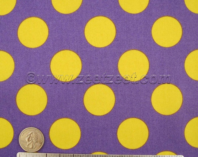Purple Yellow Large Polka Dot CANDY PARTY Kokka Lemon Lilac Quilt Fabric by the FQ Fat Quarter or Half Yard - Imported Japanese Japan