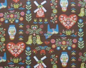 Kokka Trefle SCANDINAVIAN FOLK ART Brown Cotton Japanese Fabric - Home Dec Weight - by the Yard or Half Yard, Or Fat Quarter Canvas Weave
