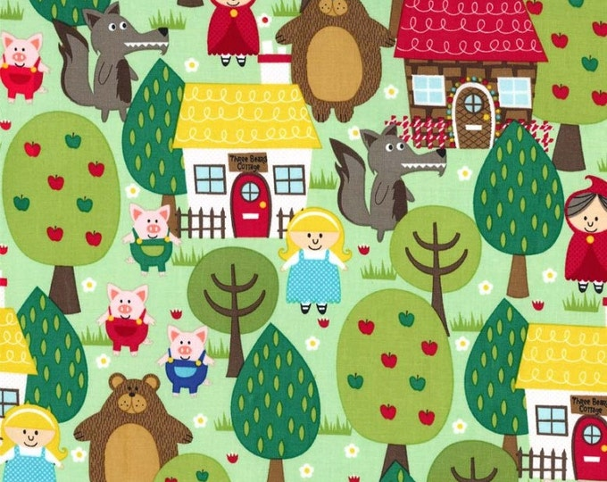 """Into The FOREST Green Cotton Quilt Fabric - by the 33"""" Remnant or Fat Quarter Fq Trees Pigs Cottage Three Bears Red Riding Hood Bear"""