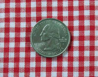 """GINGHAM CHECK 1/8"""" Red & White 100% Cotton Fabric - by the Yard, Half Yd, Quarter Yd, FQ (16 other colors)"""
