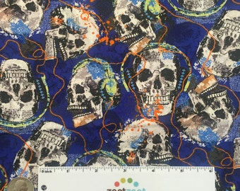 """Remnants MUSICAL SKULLS Dark Blue Cotton Quilt Fabric - Day of the Dead Rock Music Legends Sizes available: 30"""" x45, 18"""" x 22"""" Fat Quarter"""
