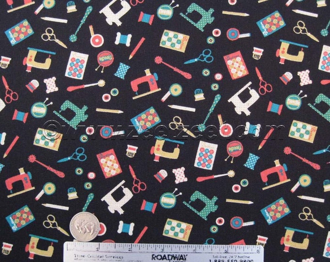 Sale 25% Off - MINI SEWING NOTIONS Black - Cotton Linen Japanese Fabric - Home Dec Weight by Kokka Trefle