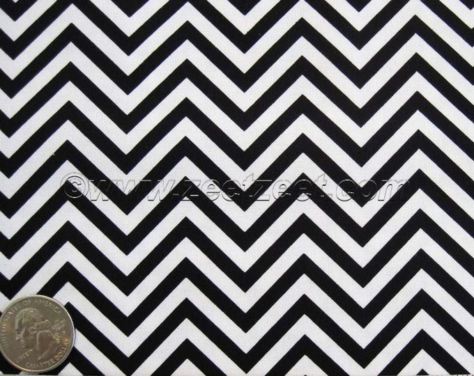 "33"" Remnant Small Scale CHEVRON Black & White ZIG ZAG Cotton Quilt Fabric - Last Piece"