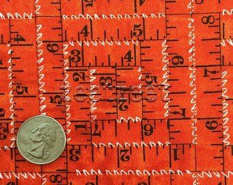 TAPE MEASURES Red Sewing Seeds Quilt Fabric - by the Yard, Half Yard, or Fat Quarter Fq by Quilting Treasures