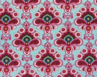 Amy Butler Belle Duck Egg / French Wallpaper AB-02 Quilt Quilt Fabric - One Yard - Rare and out of Print Pink robin's egg blue magenta