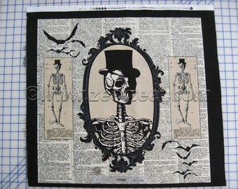 """CHILLINGSWORTH SPOOKY RIDE Cream Tan Skeleton Cotton Quilt Fabric Panel 24"""" wide x 44"""" Long Black"""
