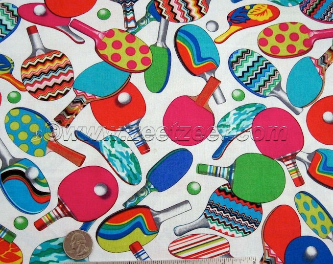 PING PONG Bright WHITE Multi Paddles & Balls - Cotton Quilt Fabric by the Fq, Half-yard, or Yard - Table Tennis