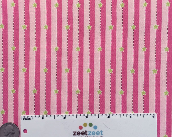 SALE Fm-09 STAR STRIPE Pink Green Felicity Miller Sun Moon Collection Cotton Quilt Dress Fabric by the Yard
