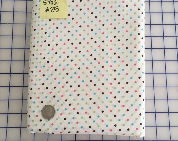 "White Aqua Brown Hot Pink Green 1/8"" POLKA Dot #25 Robert Kaufman Pimatex Cotton Quilt Dress Fabric Basics - Soft White by the Yard"
