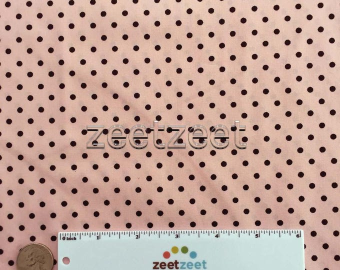 "PINK BLACK 1/8"" POLKA Dot Robert Kaufman Pimatex Cotton Quilt Dress Fabric Basics - Pink with 1/8 Black Polka Dots Sold by 35"" x 45"""