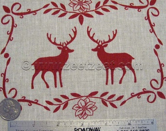 """ALPINE CHALET Deer Ornament Squares NATURAL Flax Red 100% Linen Fabric by the Yard 60"""" (1.5 meters) Wide"""