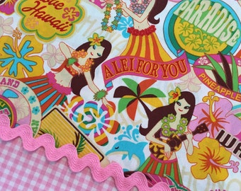 "31"" ALOHA HULA GIRLS Tropical Cotton Quilt Fabric Last Piece Honolulu Paradise Travel Mail Tiki Waikiki Island Love Lei Leis Dance Dancers"