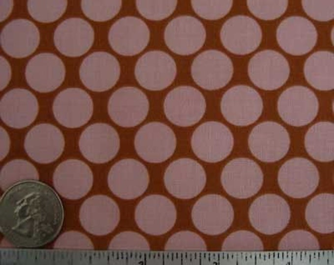 Amy Butler LOTUS FULL MOON Pink Polka Dot Quilt Fabric - Sold in 1/2 Yard increments - continuous yardage