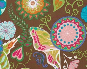 1.75 Yards - Valorie Wells COCOON Floral Brown Bittersweet Quilt Fabric Last piece Flowers Butterflies