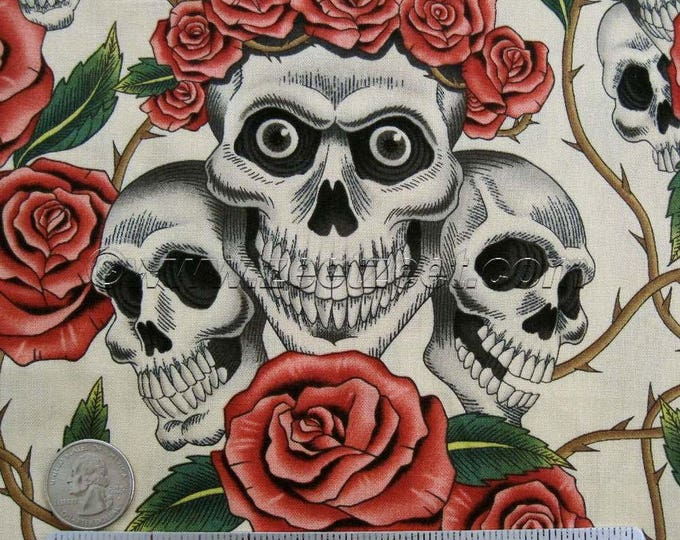 1.75 Yards ROSE TATTOO Tea Alexander Henry Skulls & Roses Day of the Dead Quilt Fabric - Last Piece