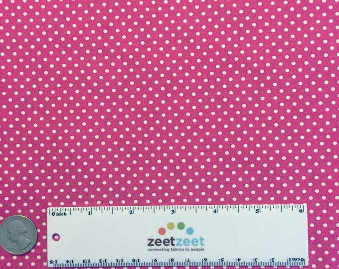 SALE Hot Pink & White PINDOT #57 Pin Dot Polka Dot Robert Kaufman Pimatex Basics Cotton Quilt Dress Fabric by the Yard