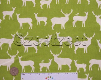 Sale Birch Fabrics ELK FAMILY, Grass Green, Woodland Deer Silhouettes - ORGANIC Cotton Quilt Fabric - by the Yard