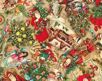 New VINTAGE CHRISTMAS Fabric - Robert Kaufman - by the Yard - Library Of Rarities 20462 Old Santa Toys Ornaments Quilt Fabric 100% Cotton