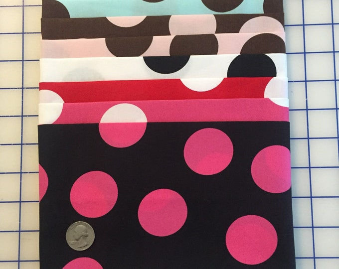 SALE 8-pc. Half Yard SET LARGE Polka Dot #40 Robert Kaufman Pimatex Cotton Quilt Dress Fabric - 4 Yards total, 8 Colors