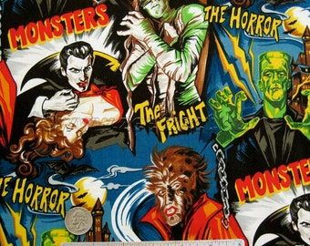 1/2 Yd or Yard MONSTERS Horror Movie Black Robert Kaufman Novelty MONSTER Cotton Quilt Fabric Universal Studios Hollywood - Hard to find
