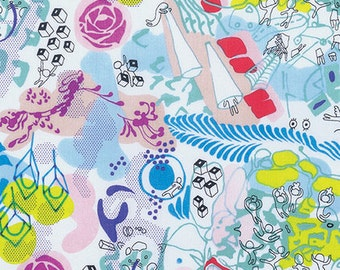 DAY DREAM Popsicle Surrealist White Multicolor Quilt Fabric - by the Yard, Half Yard, or Fat Quarter Fq from Fast Friends by Juliana Horner