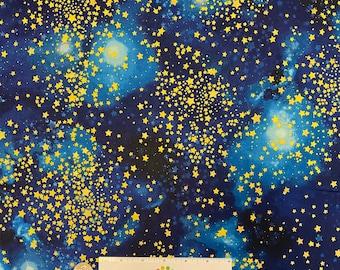 Robert Kaufman - STARGAZERS - METALLIC Star Swirls Night Sky - Blue Gold - Cotton Fabric by the Yard or Select Length