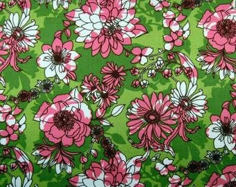SALE Pink Green Fabric - GLAM GARDEN Floral Mod Flowers Quilt Fabric by the Yard Robert Kaufman