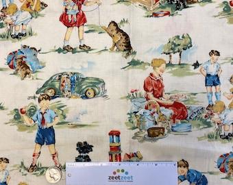 VINTAGE Kids CREAM Dick & Jane Retro Cotton Quilt Fabric by Yard, Half Yard, or Fat Quarter Fq Alexander Henry RARE Out of Print Sageglen