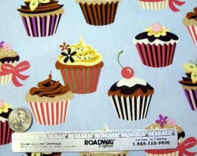 Sale Sweet Tooth CUPCAKES BLUE Cupcake Dessert Cotton Quilt Fabric by the Yard Light Blue Robert Kaufman