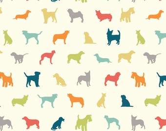 DOG SHOW Multi Cream Dogs Puppy 100% Cotton ORGANIC Quilt Fabric by the Yard, Half Yard or Fat Quarter from Farm Fresh by Birch Fabrics