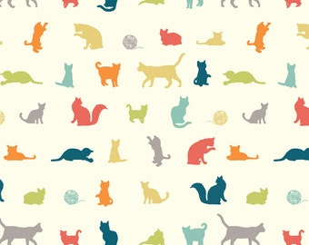 THE CHASE Multi Cream Cat Kitty Cats 100% Cotton ORGANIC Quilt Fabric by the Yard, Half Yard or Fat Quarter from Farm Fresh by Birch Fabrics