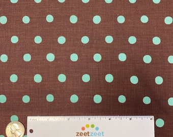 BROWN AQUA Polka Dot Japanese Fabric Import - Lightweight Canvas Japan by Etsuko Furuya Kokka Linen/Cotton by the Precut Half Yard