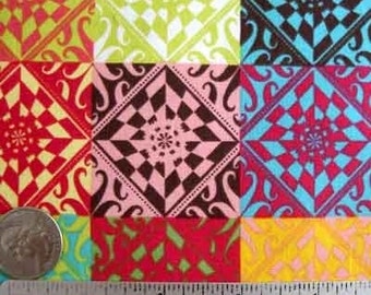 FABRIC - Cheater quilt fabric, Patchwork Fabric Multi-colored IOTA Collection Flower Child PATCH Cocoa, Quilt Fabric by the Yard Creamsicle