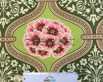 """PRIMROSE Amy Butler Fabric NIGELLA Collection Green & Pink """"Lime"""" - Cotton Sateen Fabric - Rare Home Dec Weight 54"""" Wide"""