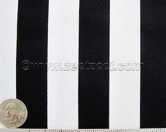 "Bekko Black & White 1"" Awning STRIPE - wide 54"" - Cotton Home Dec Drapery Fabric - Half Yard or more - Free Shipping"