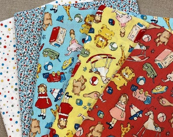 Sage Glen TOYS 5 Fat Quarter Set Cotton Quilt Fabric Fq Alexander Henry RARE & Out of Print Small Scale Sageglen Toys in Red Yellow Blue